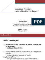Innovation Frontiers for Agriculture-Nutrition Linkages, February 2014, Chicago