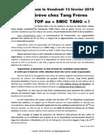 Depuis le Vendredi 13 février 2015 Grève chez Tang Frères STOP au « SMIC TANG » !