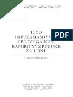 Icyo Impuzamashyaka CPC Ivuga Kuri Raporo Y'impuguke Za Loni.