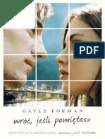Gayle Forman - Wróć , Jeśli Pamiętasz