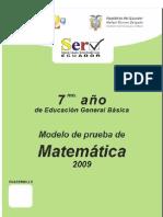 Prueba Modelo Matematica 7mo Basica