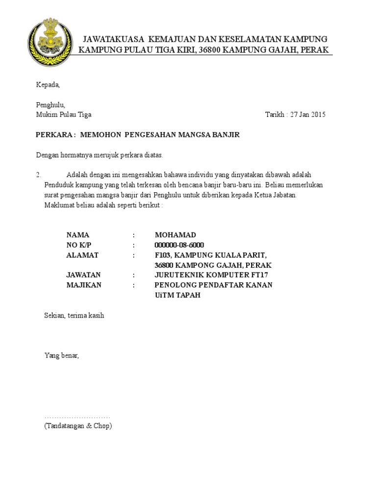 Contoh Surat Pengesahan Mangsa Banjir