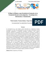 El Blogs Académico Como Portafolio de Evaluación de La Formación Docente en Investigación y Tecnología de La Información y Comunicación.