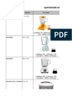Quotation of Home Appliances