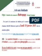 Avis Aux Étudiants - Calendrier Rattrapage