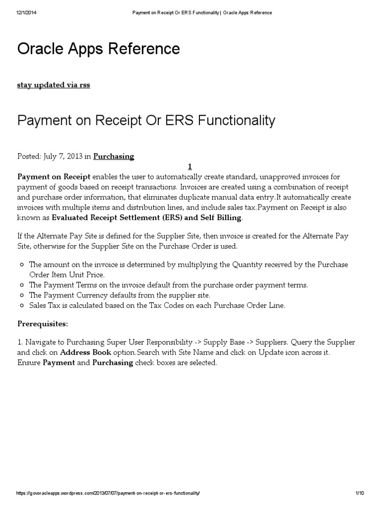 Payment on Receipt or ERS Functionality _ Oracle Apps Reference