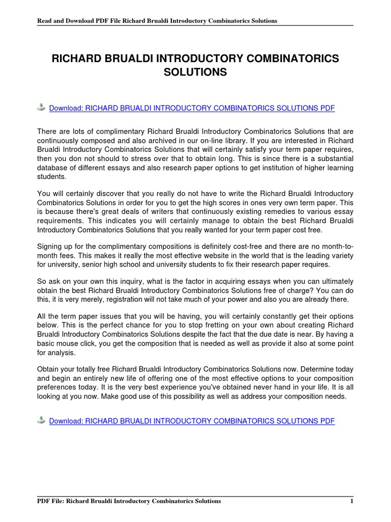 Richard brualdi introductory combinatorics solutions1 e books richard brualdi introductory combinatorics solutions1 e books portable document format fandeluxe Images