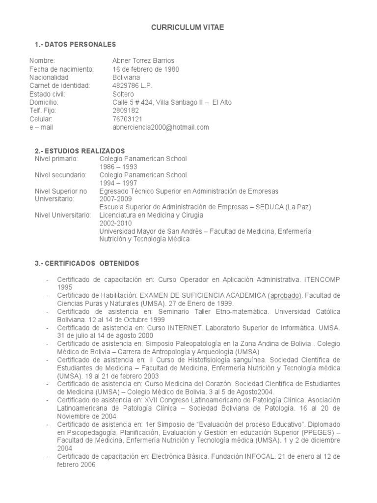 Curriculum Vitae Para Residencia Medica