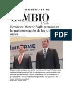18-02-2015 Diario Matutino Cambio de Puebla - Reconoce Moreno Valle Retrasos en La Implementación de Los Juicios Orales
