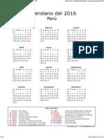 Calendario Perú 2016