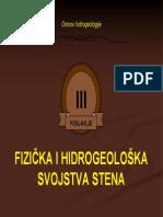 Fizicko-mehanicka i Hidrogeoloska Svojstva Stena