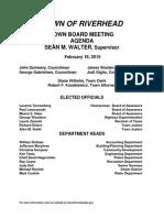 February 18, 2015 - Agenda