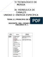 Tema 2.1 Principio de Energia Especifica