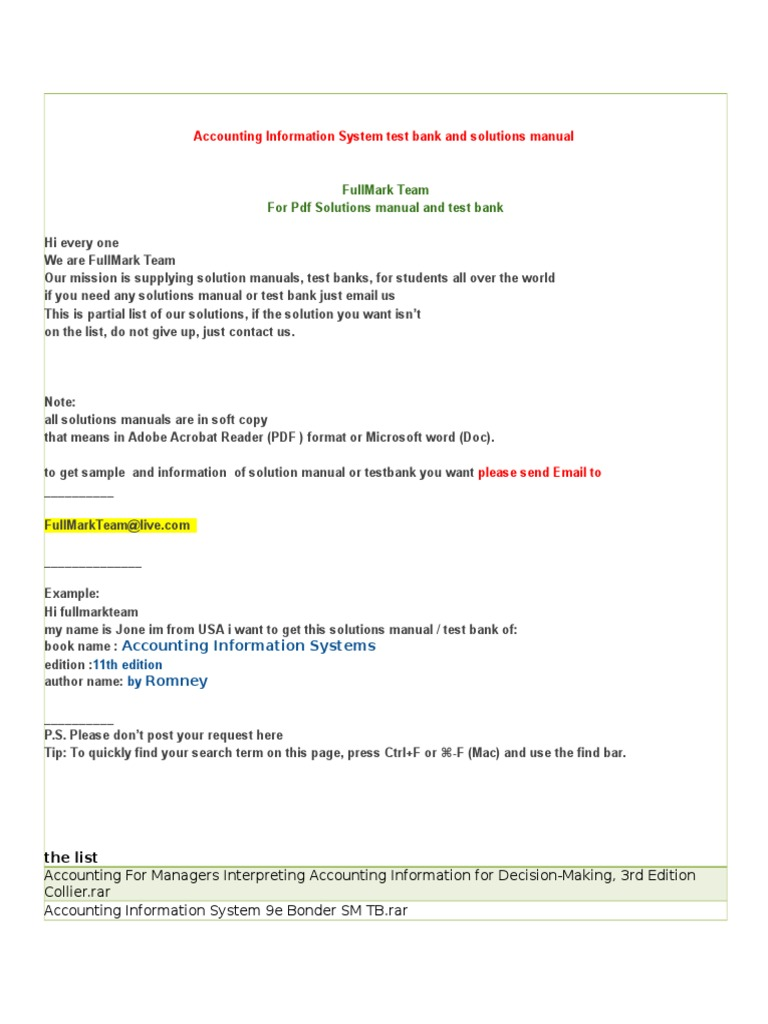 accounting information system test bank and solutions manual rh fr scribd com instructor solution manual for accounting information systems 12e solution manual accounting information system romney