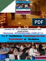 """Kanaidi, SE., M.Si (sebagai Pemateri) saat pelaksanaan """"Workshop  INTERPERSONAL CONFLICT in WORKPLACE""""   di Hotel ASTON TROPICANA-Bandung, 17  Februari 2015"""
