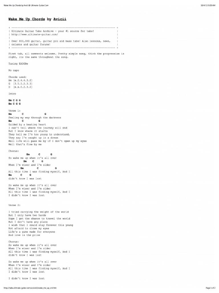 Wake Me Up Chords by Avicii at Ultimate Guitar PDF   PDF