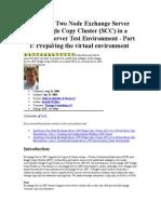 Installing a Two Node Exchange Server 2007 Single Copy Cluster