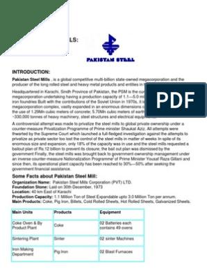 Pakistan Steel Mills annual report from superior university