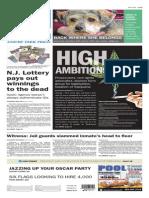 Asbury Park Press front page Thursday, Feb. 19 2015