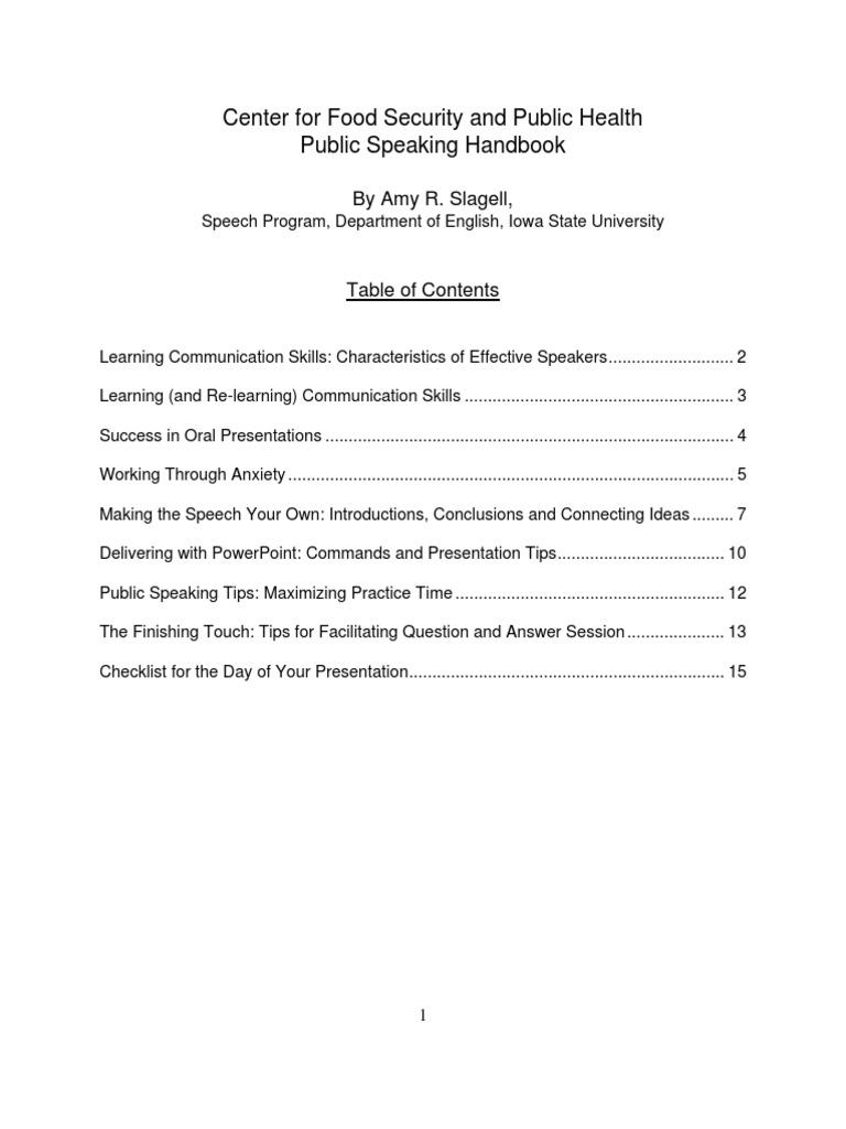 Public Speaking Handbook | Public Speaking | Audience