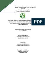 Análisis de Los Factores Internos Que Afectan La Calidad Del Ensamble de Maquillaje en Oxygen Development, Período Octubre – Diciembre 2014