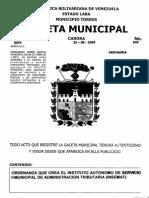 2009 425 Ordenanza Que Crea El Instituto Autonomo de Servicio Municipal de Administracion Tributaria (Insemat)