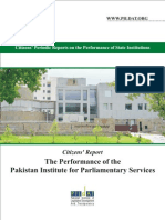 The Performance of the Pakistan Institute of Parlilamentary Services