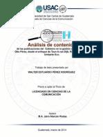 Analisi de Contenido de Las Publicaciones Del Gobierno en La Gestion de Otto Perez