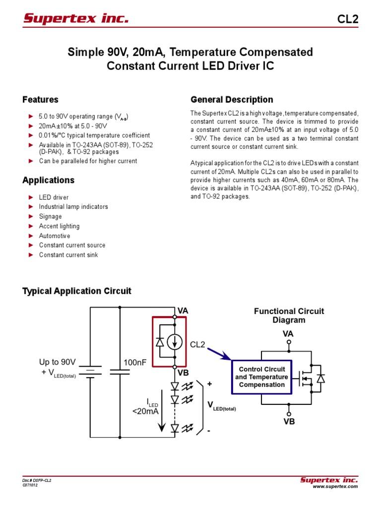 Gn De Courant Pour Reseau Led Cl2 Light Emitting Diode Leds Temperature Indicator Circuit Diagram Electricity