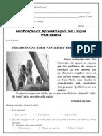 Avaliação de Língua Portuguesa - 3 Ano