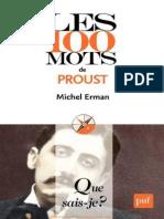 Les 100 Mots de Proust - Michel Erman