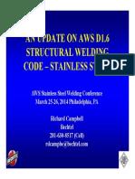 Campbell AnUpdateonAWSD16StructuralWeldingCode Stainless Steel