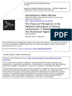 The Theory of Perception in the Aesthetic Conception of Lachenmann a 'Redefinition' Trial of the Functional Aspect of Music