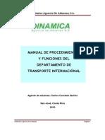 Manual de Procedimiento de Un Depto de Transp Intl