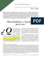Oscar Adán - María Zambrano y La Pregunta Por El Ser
