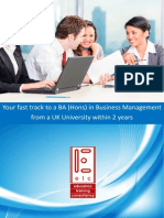 Complete a BA Hons Degree in Business Management in 2 Years