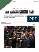 17-02-15 27 Diputados Han Solicitado Licencias en Actual Periodo de Sesiones