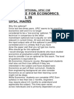 Economics Optional, Upsc Cse