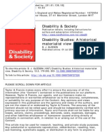 Disability Studies. a Historical Materialist View