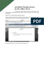 Cara Membuat Daftar Pustaka Secara Otomatis Pada Ms