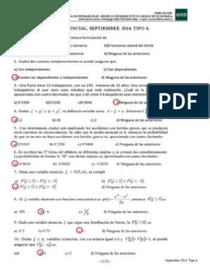 Soluciones Uned Probabilidad Economia Probabilidad Variable Aleatoria