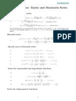 Taylor Series Formulas