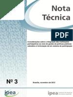 2012_IPEA_Nota Técnica 3_Integração Das Instituições Participativas Ao Ciclo de Gestão de Políticas Públicas_Formulação de Um Sistema de Participação