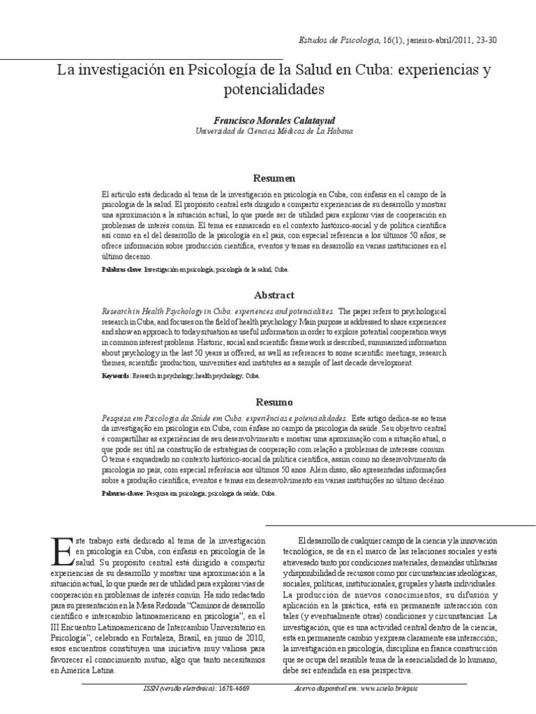 La Investigación en Psicología de La Salud en Cuba_experiencias y ...