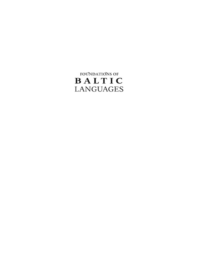 b893e3d26 Foundations of Baltic Languages | Baltic States | Lithuania