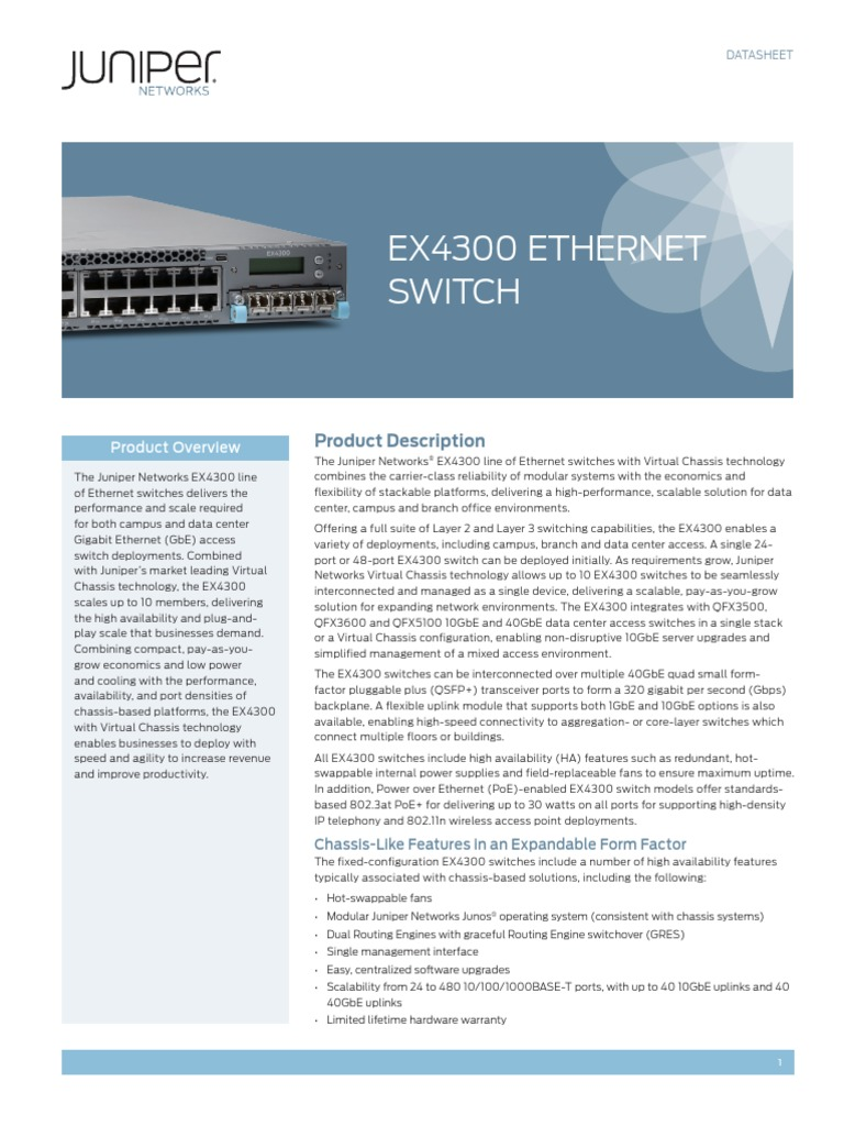 Juniper Networks EX4300 switch Redundant Fan Air Out AFO front to back airflow