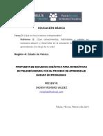 Propuesta de Una Secuencia Didactica Para Matematicas en Telesecundaria