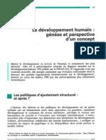 La notion de développement humain