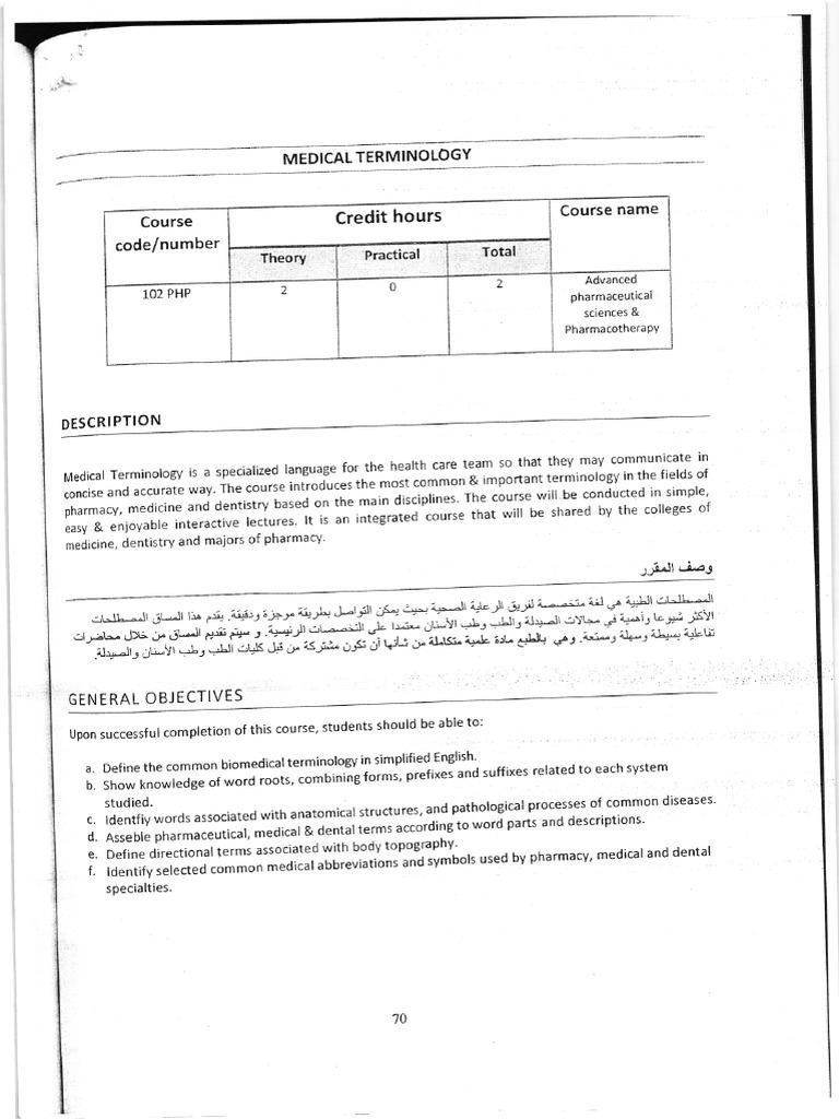 Medical Terminology Syllabus 1 Pharmacy Pharmaceutical Drug