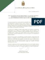 Comunicado Alcalde de Quito Sobre Detención de Alcalde de Caracas